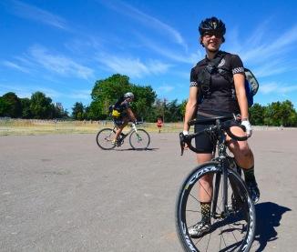 ©Barry Sandland/TIMB - Woman on her bike at the Cycle Messenger World Championships