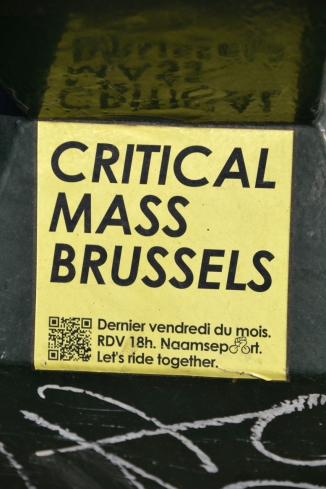 ©Barry Sandland/TIMB - Critical Mass sticker advertising the upcoming rides