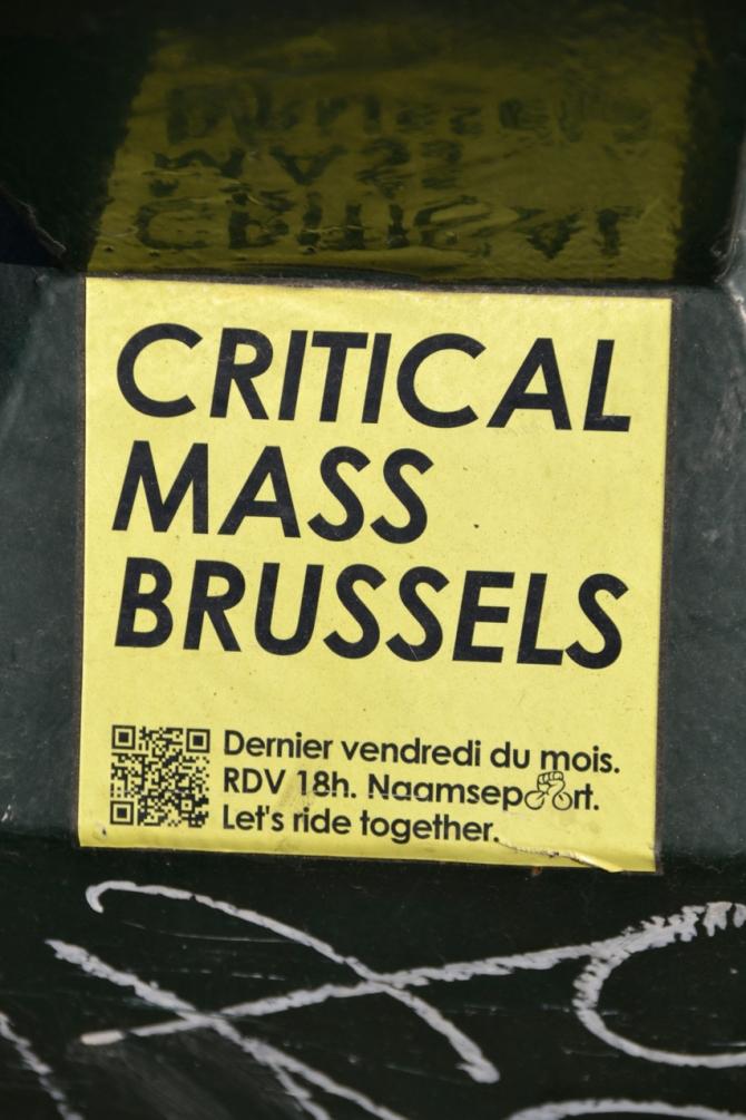 ©Barry Sandland/TIMB - Critical Mass sticker advertising the upcoming rides