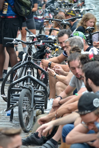©Barry Sandland/TIMB - Cycle messengers at the gathering point for the Paris World Championships