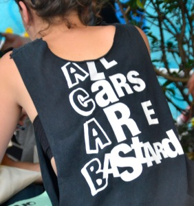 ©Barry Sandland/TIMB - All Cars Are Bastards t-shirt on display in Paris