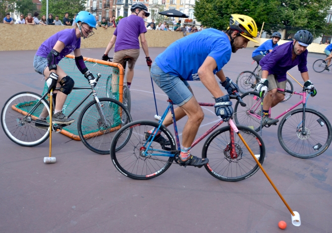 Barry Sandland/TIMB - Bike polo riders at a Belgium competition