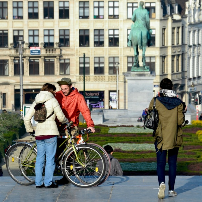 ©Barry Sandland/TIMB - Two riders at Mont des Arts in Brussels