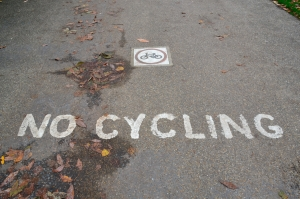 ©Barry Sandland/TIMB - Painted No Cycling sign on the pavement