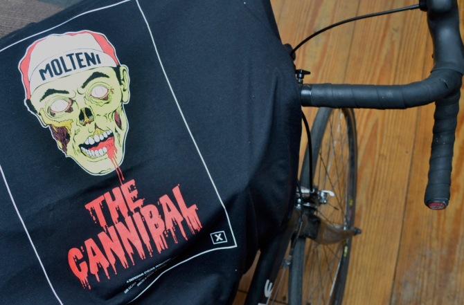 ©Barry Sandland/TIMB - London Courier Emergency Fund t-shirt w Eddy Merckx, the Cannibal, as a zombie.
