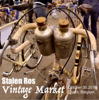 ©Barry Sandland/TIMB - Corked water bottles in their handlebar mounts at the Stalen Ros vintage show.