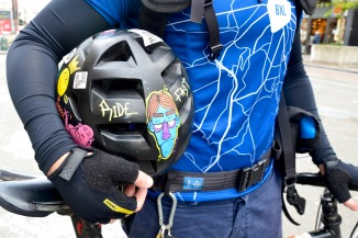©Barry Sandland/TIMB - Cycling helmet decorated w various stickers and decals