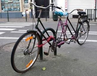 ©Barry Sandland/TIMB - Tandem bike created bu welding two separate frames together