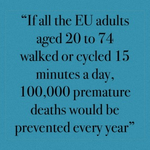 If all the EU adults aged 20 to 74 walked or cycled 15 minutes a day, 100,000 premature deaths would be prevented every year.