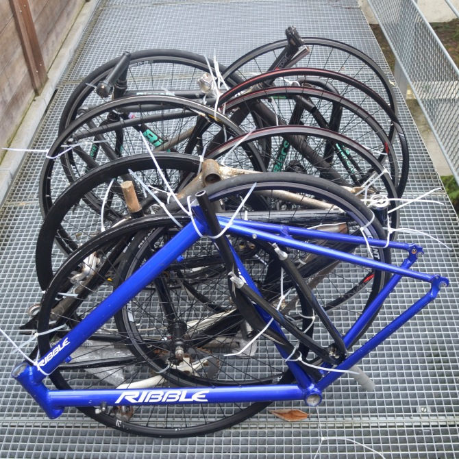 ©Barry Sandland/TIMB - Bike frames and wheels packaged for transit