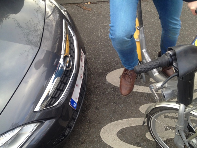 ©Barry Sandland/TIMB - Cyclist rear-ended by a car while stopped in a safety square in Brussels