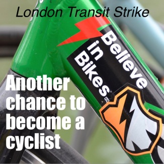 ©Barry Sandland/TIMB - Poster to promote cycling during the London Transit Strike