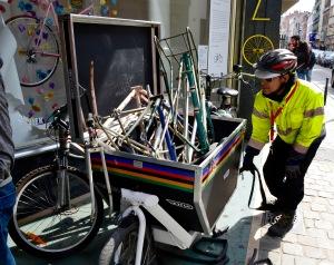 ©Barry Sandland/TIMB - CYCLO mechanic preparing the CYCLO transport bike w vintage bicycle frames
