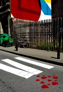Barry Sandland/TIMB - A smattering of romance on a pedestrian crossing