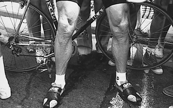 ©Barry Sandland/TIMB - Sean Kelly legs in a post race image.