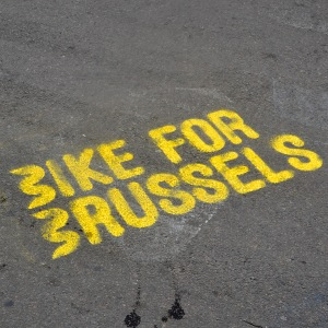 ©Barry Sandland/TIMB - Bike For Brussels stencil in the pedetrian zone of the Brussels downtown.