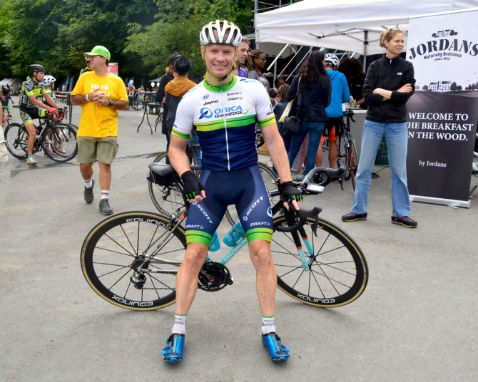 ©Barry Sandland/TIMB - Jamie Anderson, Reynolds sponsored Masters rider, at the Brussels Tour finish.
