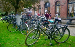 ©Barry Sandland/TIMB - Bicycles at the bike stand outside Tandem pop-up café