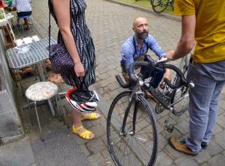 ©Barry Sandland/TIMB - Bike mechanic giving quick advice outside Tandem Café