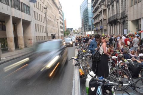 ©Barry Sandland/TIMB - GRACQ and Critical Mass meet on rue de la Roi for a Friday evening event