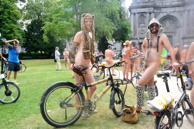 ©Barry Sandland/TIMB - Woman w her bamboo bicycle at the World Naked Bike Ride in Brussels