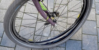 ©Barry Sandland/TIMB - Mountain bike rim destroyed after pressure from tire exploded a damaged rim