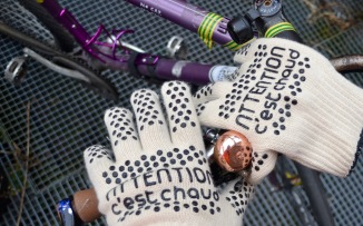 ©Barry Sandland/TIMB - Kitchen mitts doubling as cold weather gloves on the bike